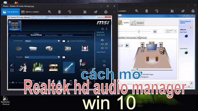 realtek hd audio manager win 10
